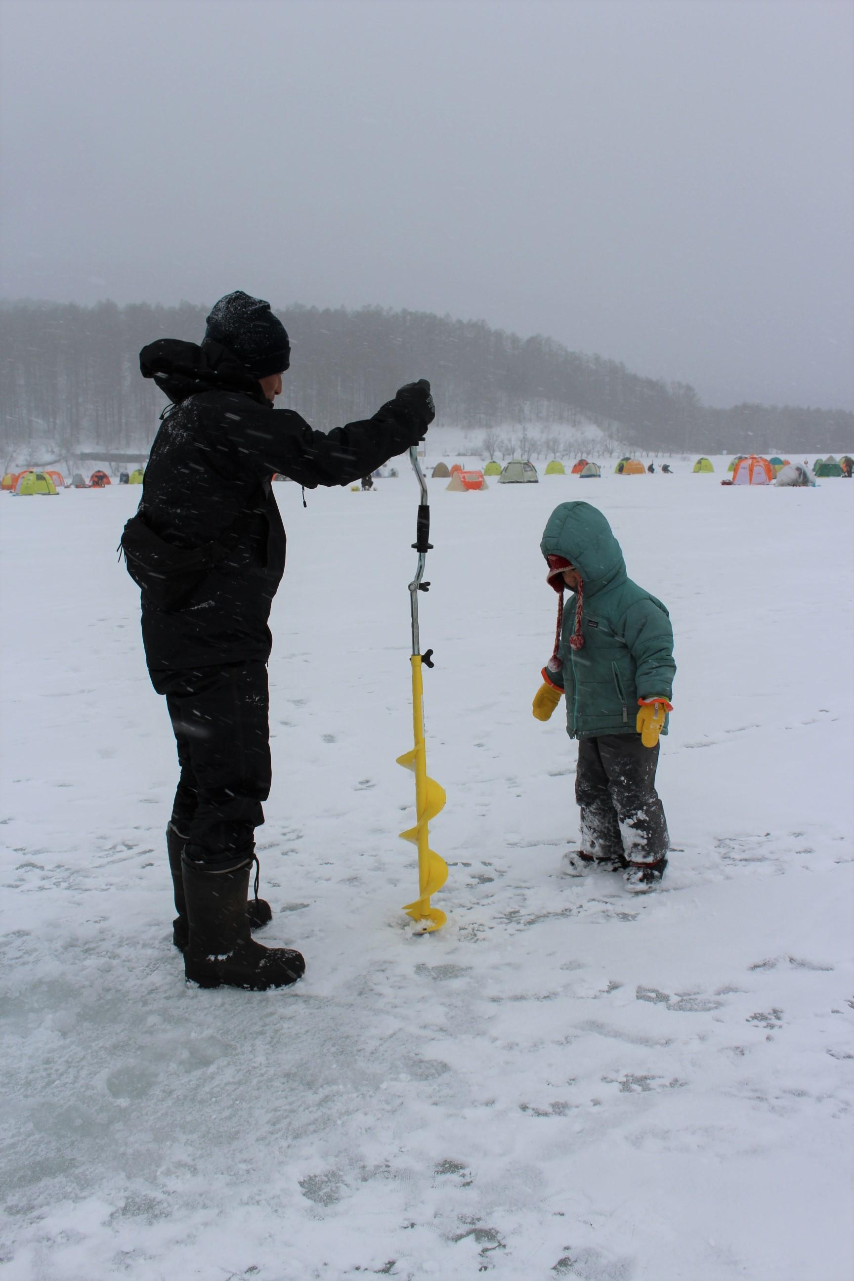 霊仙寺湖氷上わかさぎ釣り終了